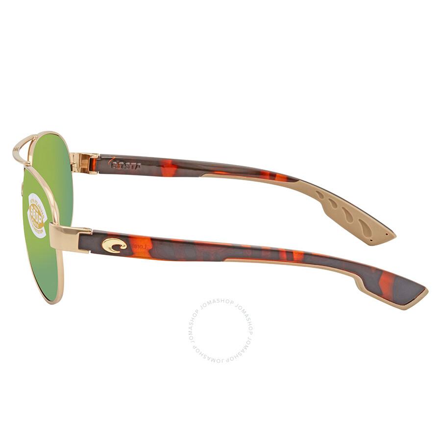 9fb61f77846 Costa Del Mar Loreto Green Mirror Aviator Sunglasses LR 64 OGMP ...
