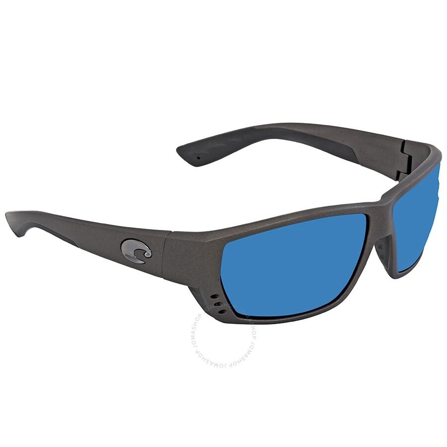 8d61e63878be4 Costa Del Mar Tuna Alley Blue Mirror Polarized Plastic Rectangular  Sunglasses TA 188 OBMP ...