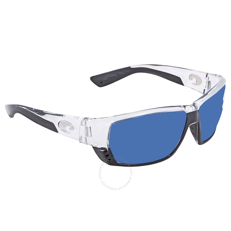 54ed09cd4714c Costa Del Mar Tuna Alley Blue Mirror Polarized Plastic Rectangular  Sunglasses TA 39 OBMP ...