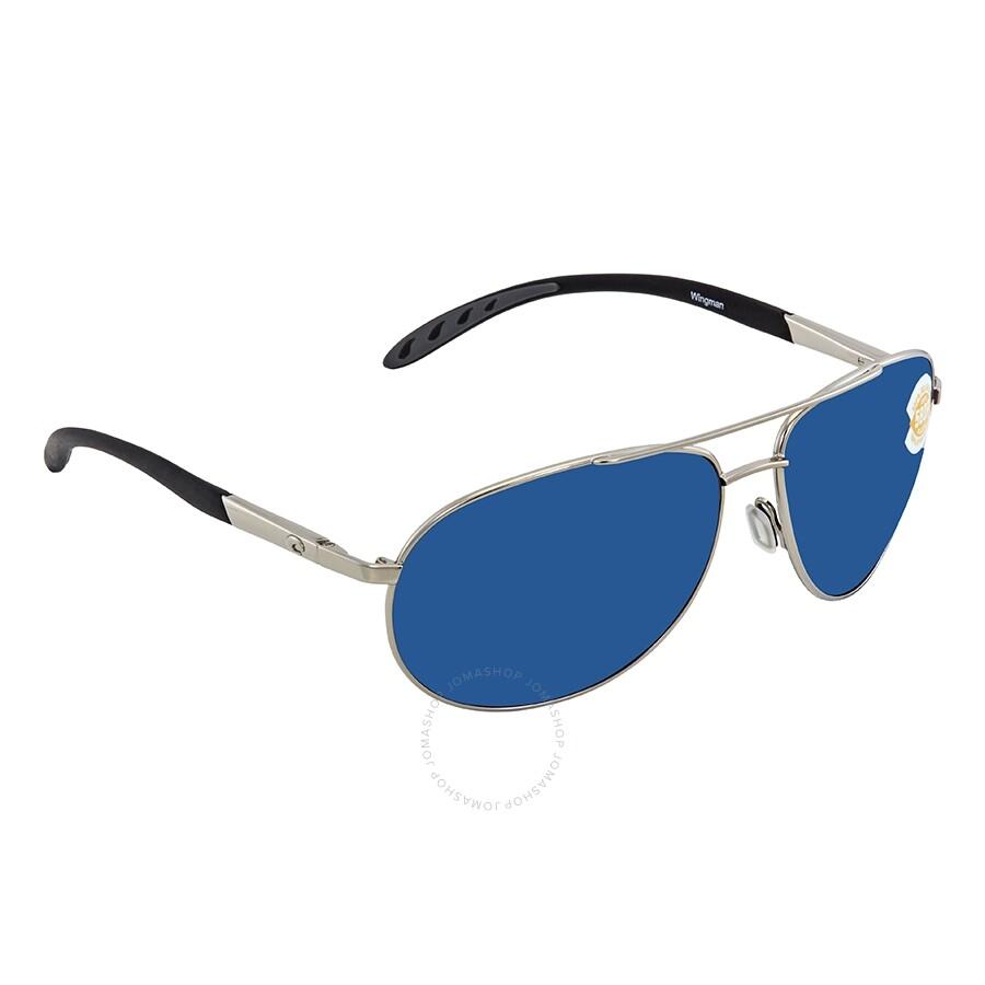 bc1cad4f854 Costa Del Mar Wingman Blue Mirror Polarized Plastic Aviator Sunglasses WM  21 OBMP ...