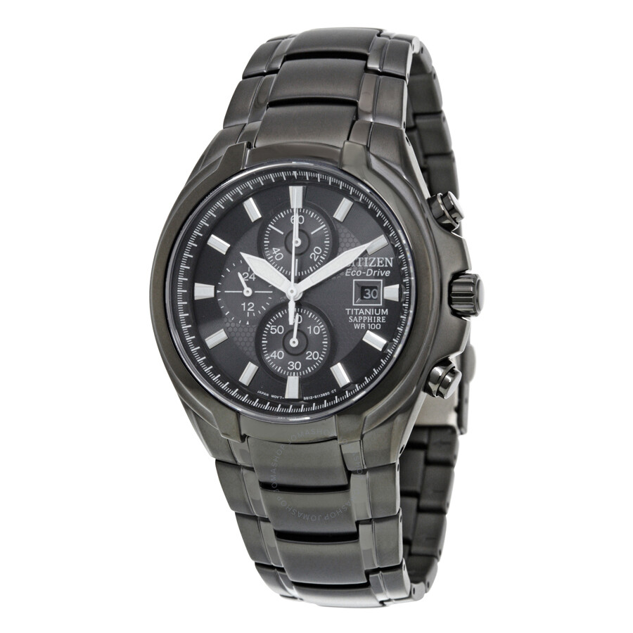Ctizen eco drive chronograph black dial titanium men 39 s watch ca0265 59e eco drive citizen for Titanium watches