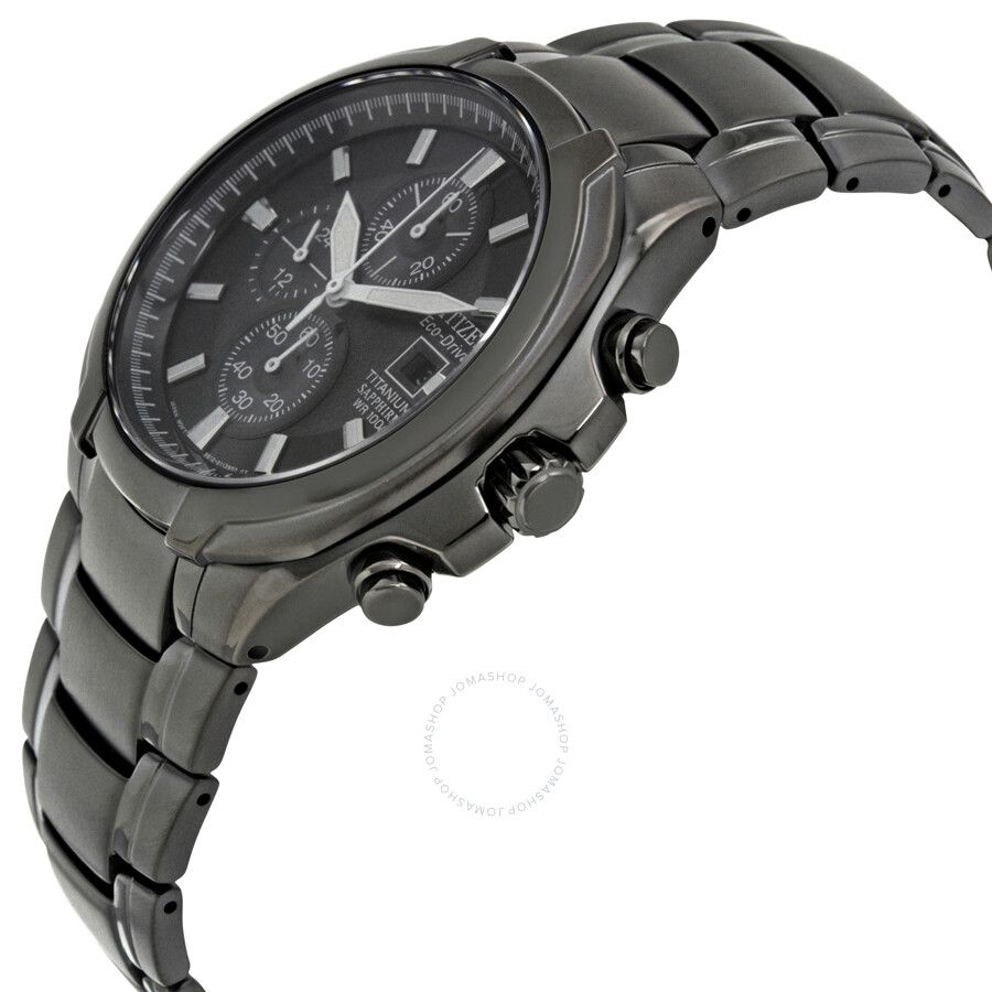 Ctizen eco drive black dial titanium chronograph men 39 s watch ca0265 59e eco drive citizen for Titanium watches