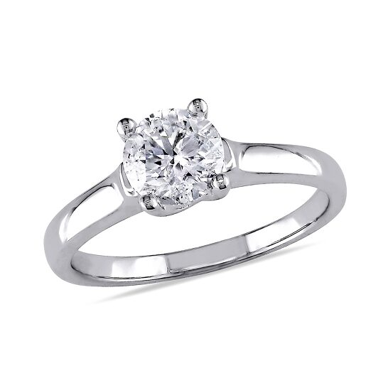 Amour 1 CT  Diamond TW Solitaire Ring  14k White Gold GH I2;I3 Size 8   Joma Shop
