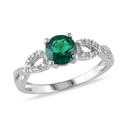 Amour 1/10 CT  Diamond TW And 4/5 CT TGW Created Emerald Fashion Ring  10k White Gold GH I1;I2 Size 6   Joma Shop