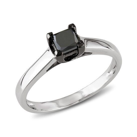 Amour 1/2 CT Black Princess Diamond TW Solitaire Ring  10k White Gold  Black Rhodium Plated Size 9 | Joma Shop