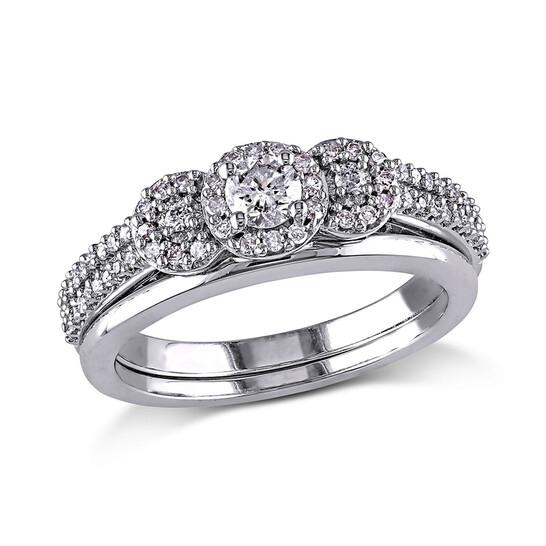 Amour 1/2 CT  Diamond TW Bridal Set Ring  10k White Gold GH I1;I2 Size 9 | Joma Shop