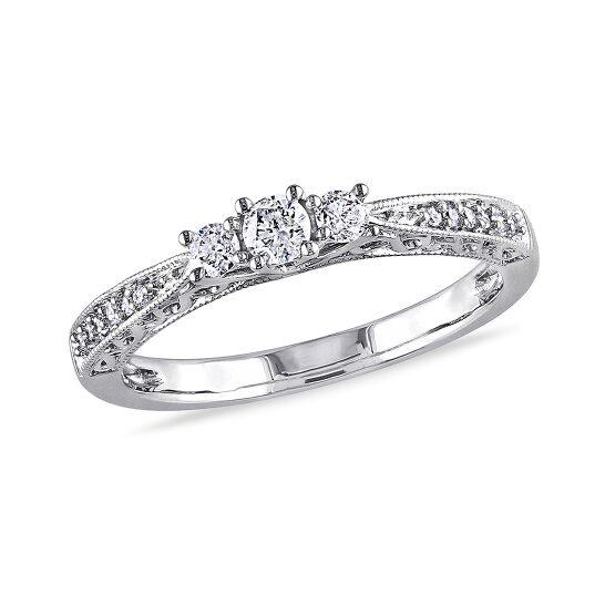 Amour 1/3 CT  Diamond TW Fashion Ring  10k White Gold GH I2;I3 Size 9   Joma Shop