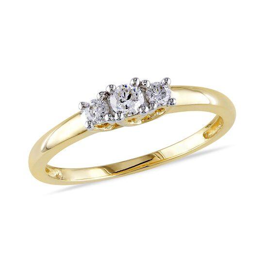 Amour 1/4 CT  Diamond TW 3 Stone Ring  14k Yellow Gold GH I1;I2 IGL Certification Size 6 | Joma Shop