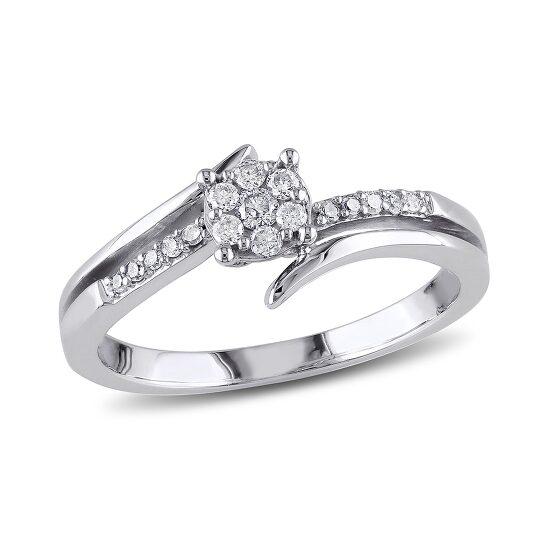 Amour 1/5 CT  Diamond TW Fashion Ring  10k White Gold GH I2;I3 Size 9   Joma Shop