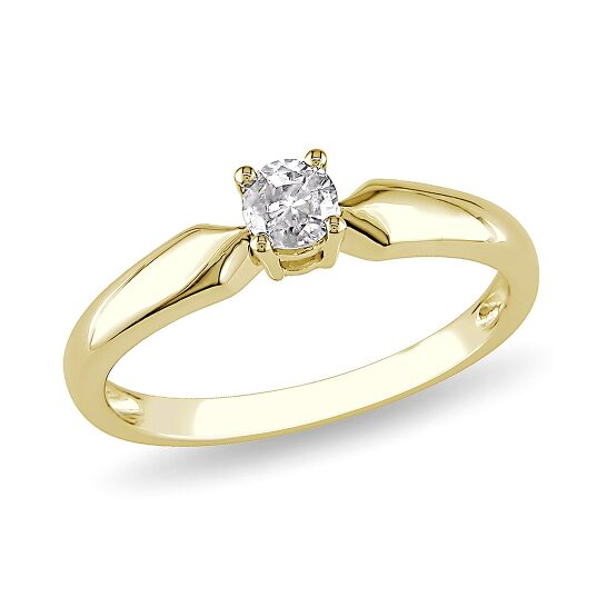 Amour 1/5 CT  Diamond TW Solitaire Ring 10k Yellow Gold I2;I3 Size 9 | Joma Shop