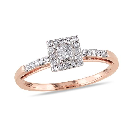 Amour 1/5 CT Princess and Round Diamonds TW Engagement Ring 10k Pink Gold GH I2;I3 Size 9   Joma Shop