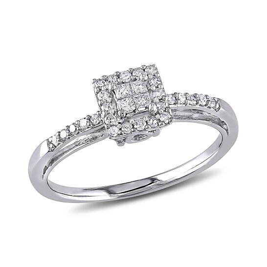 Amour 1/5 CT Princess and Round Diamonds TW Engagement Ring 10k White Gold GH I2;I3 Size 9 | Joma Shop