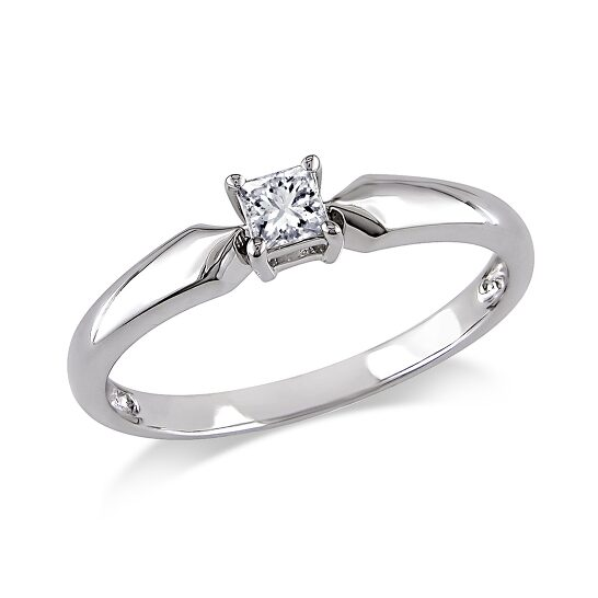Amour 1/5 CT Princess Diamond TW Solitaire Ring 10k White Gold I3 Size 9   Joma Shop