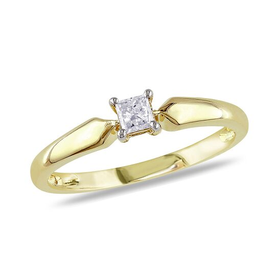 Amour 1/5 CT Princess Diamond TW Solitaire Ring 10k Yellow Gold I3 Size 9   Joma Shop