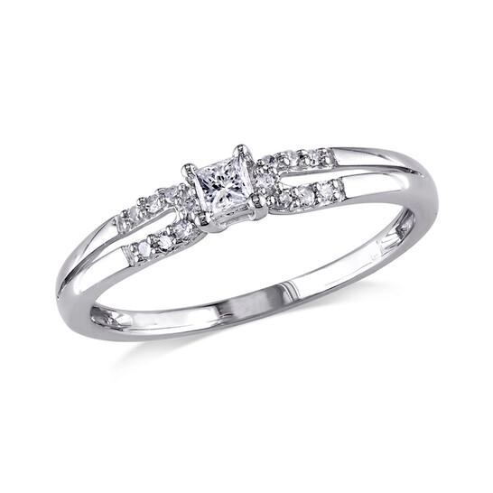 Amour 1/6 CT Princess and Round Diamonds TW Fashion Ring 10k White Gold GH I2;I3 Size 9 | Joma Shop