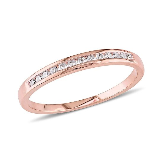 Amour 1/8 CT  Diamond TW Fashion Ring 10k Pink Gold GH I2;I3 Size 7   Joma Shop