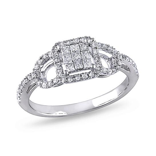 Amour 3/8 CT Princess and Round Diamonds TW Fashion Ring 10k White Gold GH I2;I3 Size 9   Joma Shop