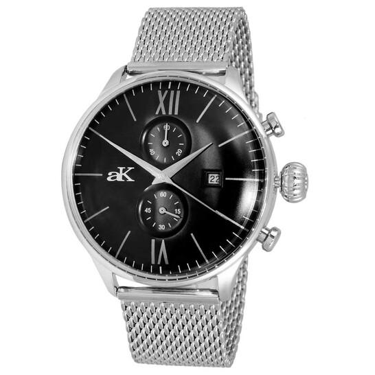 Adee Kaye Quartz Black Dial Men's Watch AK2376MESHBK | Joma Shop