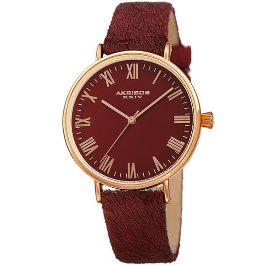 Akribos Xxiv Quartz Red Dial Red Leather Ladies Watch AK1081RD | Joma Shop