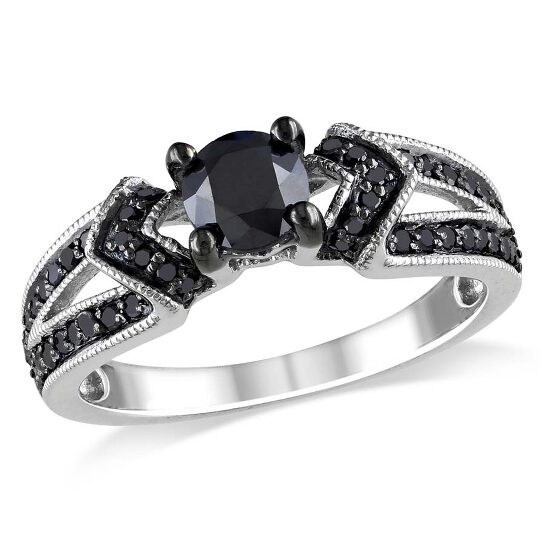 Amour 1 CT Black Diamond Sterling Silver Engagement Ring - Size 9   Joma Shop