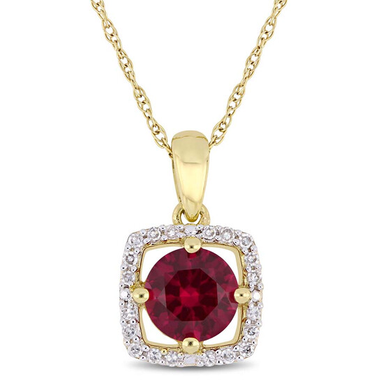 Amour 1 CT TGW Created Ruby and 1/10 CT TW Diamond Halo Square Pendant with Chain in 10k Yellow Gold | Joma Shop