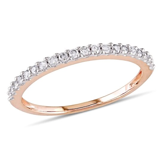 Amour 10k Pink Gold 1/5 CT TDW Diamond Semi-Eternity Ring | Joma Shop