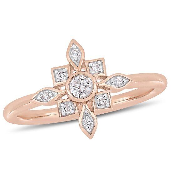 Amour 10K Pink Gold 1/6 CT TDW Diamond Fashion Ring | Joma Shop