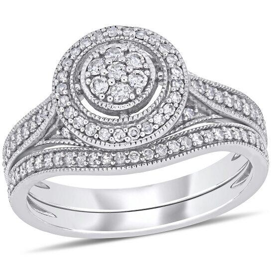Amour 10K White Gold 2/5 CT TDW Diamond Bridal Set Ring   Joma Shop