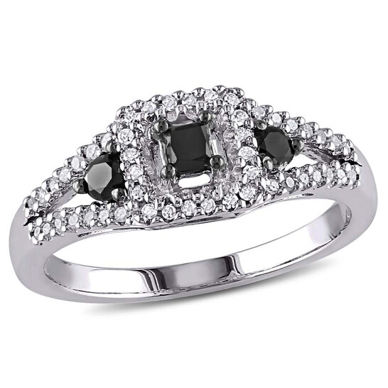 Amour 1/2 CT Black and White Diamond Sterling Silver Ring - Size 9 | Joma Shop