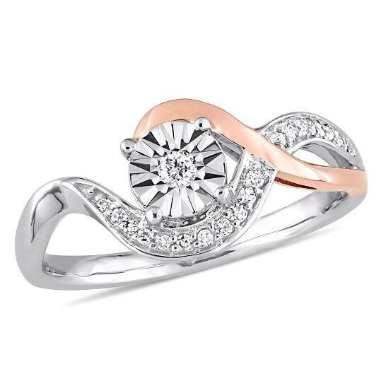 Amour 14K Two-tone Gold 1/10 CT TDW Diamond Fashion Ring | Joma Shop