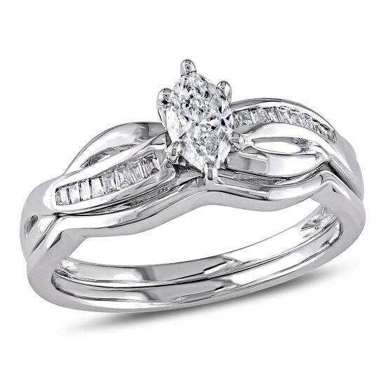 Amour 14K White Gold 1/2 CT TDW Diamond Bridal Set Ring | Joma Shop
