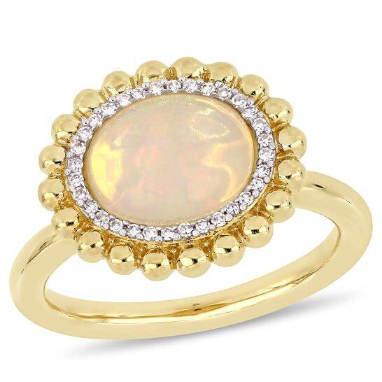 Amour 14K Yellow Gold 2 CT TGW Ethiopian Yellow Opal and 1/10 CT TDW Diamond Halo Ring   Joma Shop