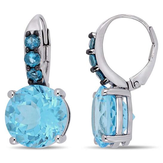 Amour 15 1/4 CT TGW Blue Topaz - Sky Blue Topaz - London LeverBack Earrings Silver Black Rhodium Plated JMS005172 | Joma Shop