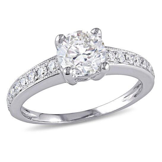 Amour 18K White Gold 1-1/6 CT TDW Diamond Engagement Ring   Joma Shop