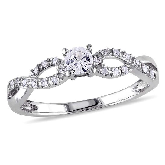 Amour Diamond and White Sapphire 10K White Gold Ring - Size 9 | Joma Shop