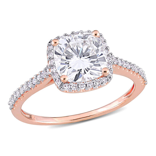 Amour Ladies 14k Rose Gold 2 Ct Cushion Cut White Moissanite And Diamond Pave Ring Size 9 | Joma Shop