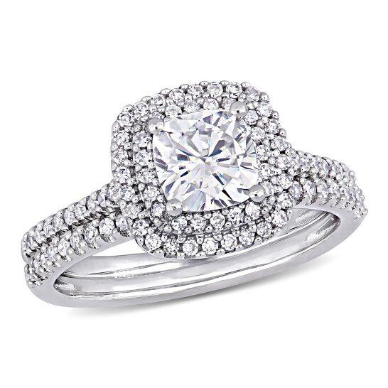 Amour Ladies 14k White Gold 1 Ct Cushion Cut White Moissanite And 0.5 Ct Diamond Wedding Set Ring Size 9 | Joma Shop