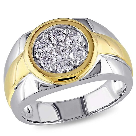 Amour Two-Tone 10K White and Yellow Gold 1 CT Diamond Ring Size 12   Joma Shop