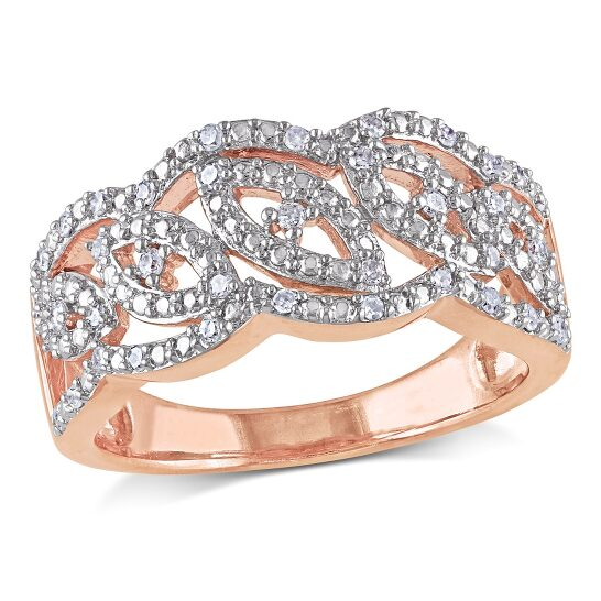 Amour Two-Tone Silver 1/5 CT TDW Diamond Intertwined Ring | Joma Shop