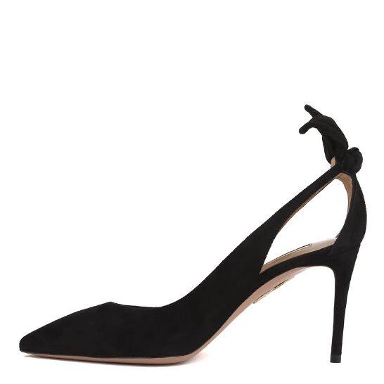 Aquazzura Bow Tie 85 Ladies Black Suede