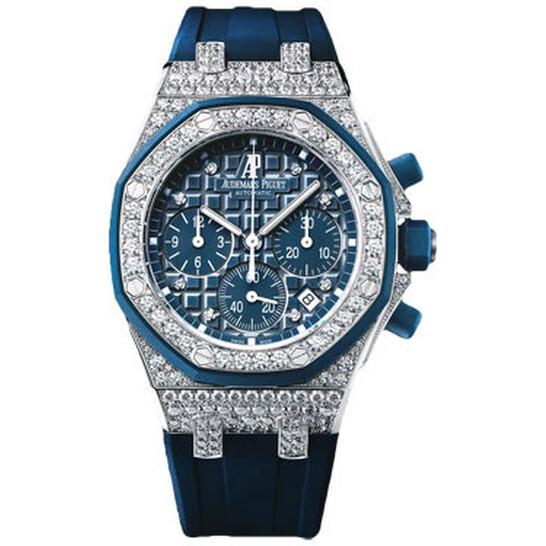 Audemars Piguet Royal Oak Offshore Chronograph Blue Dial Diamond Ladies Watch 26092CKZZD021CA01 | Joma Shop