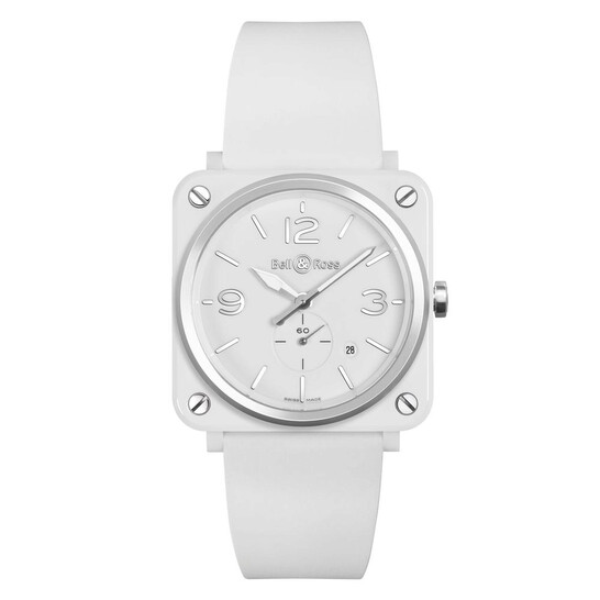 Bell And Ross Aviation Quartz Chronometer White Dial 39 mm Watch BRS-WH-CES/SRB | Joma Shop