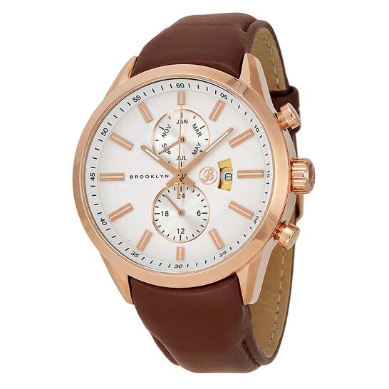 Brooklyn Watch Co. Fulton Silver Dial Brown Leather Swiss Quartz Men's Watch FL-RG-SV-BR | Joma Shop