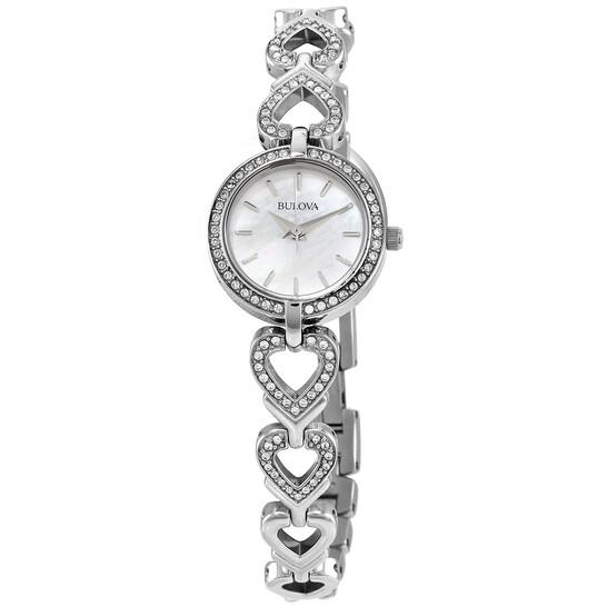 Bulova Swarovski Crystals Set White Mother of Pearl Dial Ladies Watch 96X136 | Joma Shop