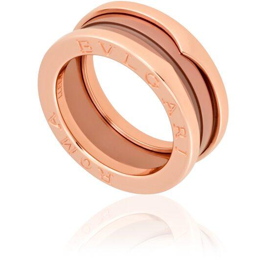 Bvlgari B.Zero1 18K Pink Gold Cermet Ring - Size 56 | Joma Shop