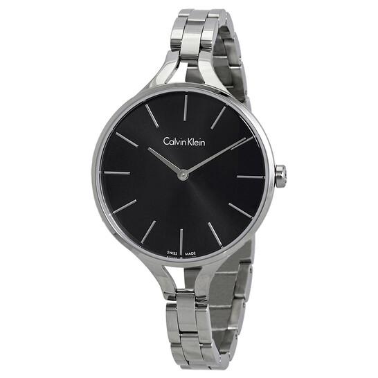 Calvin Klein Graphic Black Dial Ladies Bangle Watch K7E23141   Joma Shop