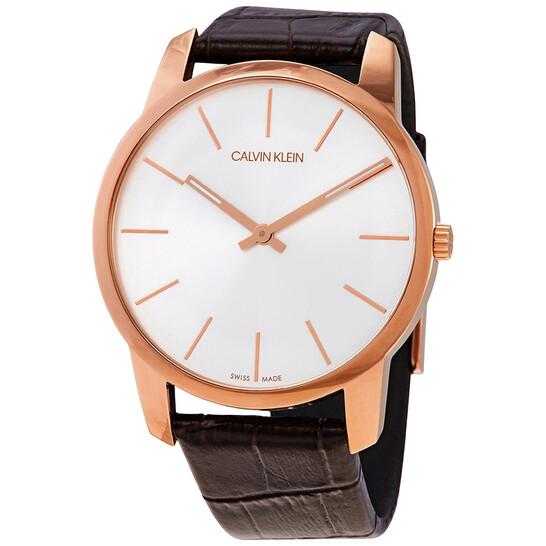 Calvin Klein Quartz Silver Dial Brown Leather Mens Watch K2G21629