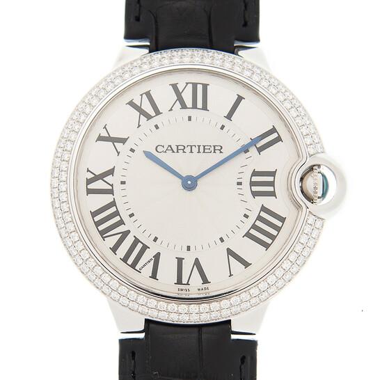Cartier Ballon Bleu Silver Dial Alligator Leather Diamond Men's Watch WE902056 | Joma Shop