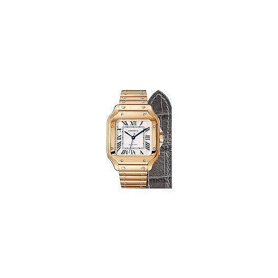 Cartier Santos Silver Opaline Dial Automatic Ladies 18kt Rose Gold Medium Watch WGSA0008   Joma Shop
