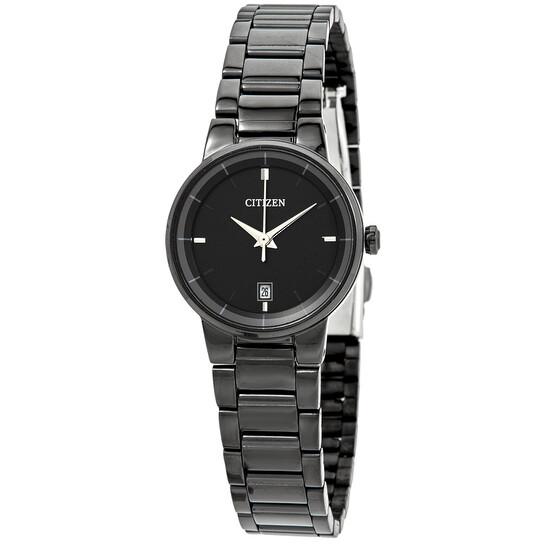 Citizen Quartz Black Dial Black Ion-plated Ladies Watch EU6017-54E | Joma Shop